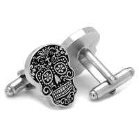 Silver Day of the Dead Cufflinks-Cufflinks-Here Comes The Bling‰̣ۡå¢