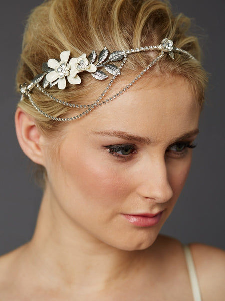Silver Hand-Enameled Floral Halo Headband with Preciosa Crystal Drapes-Headband-Here Comes The Bling™