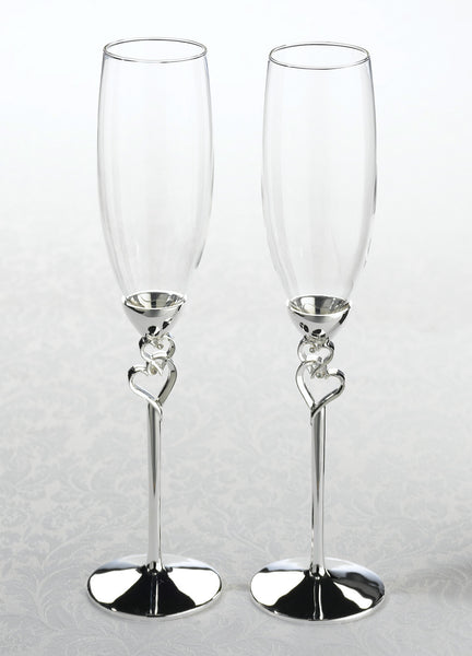 Silver Heart Toasting Glasses-Toasting Flutes-Here Comes The Bling™