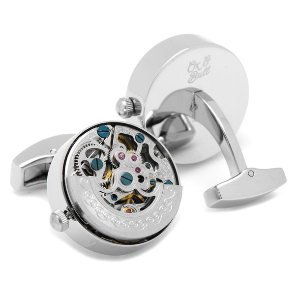 Silver Kinetic Watch Movement Cufflinks-Cufflinks-Here Comes The Bling™
