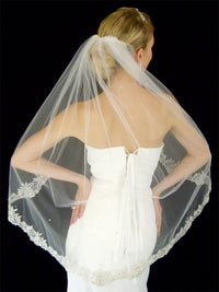Silver Lace Edged Bridal Veil-Veils-Here Comes The Bling™