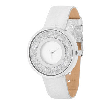 Silver Leather Watch With Crystals-Watches-Here Comes The Bling