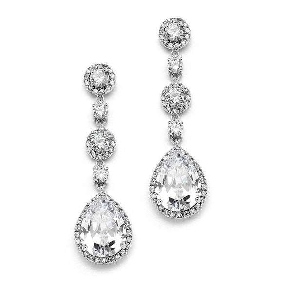 Silver Pear-Shaped Halo CZ Bridal Earrings-Earrings-Here Comes The Bling™