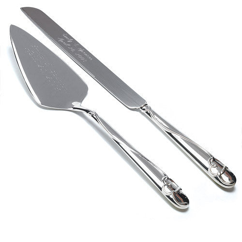 Silver Plated Cake Serving Set with Raised Loop Heart-Serving Set-Here Comes The Bling™
