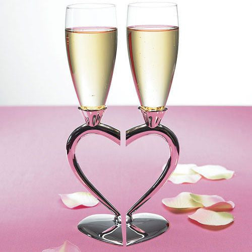 Silver Plated Interlocking Heart Stems Wedding Champagne Glasses-Toasting Flutes-Here Comes The Bling™