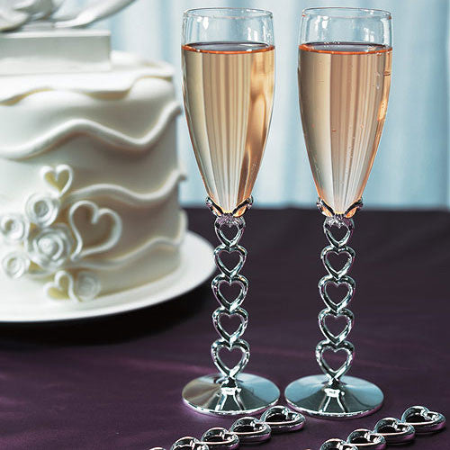 Silver Plated Stacked Hearts Wedding Champagne Flutes-Toasting Flutes-Here Comes The Bling™