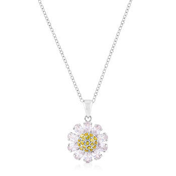 Silver Purple and Yellow Cubic Zirconia Floral Pendant-Necklaces-Here Comes The Bling