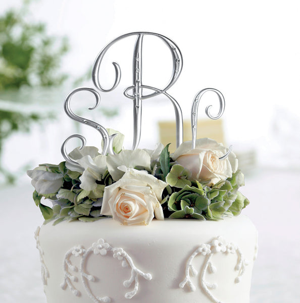Silver Rhinestone Monogram- Small-Cake Toppers-Here Comes The Bling™
