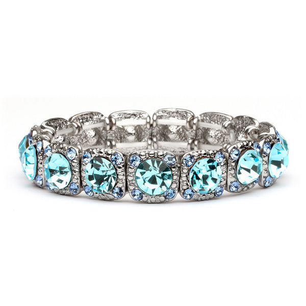 Silver Stretch Bracelet with Aqua Crystals-Bracelets-Here Comes The Bling™