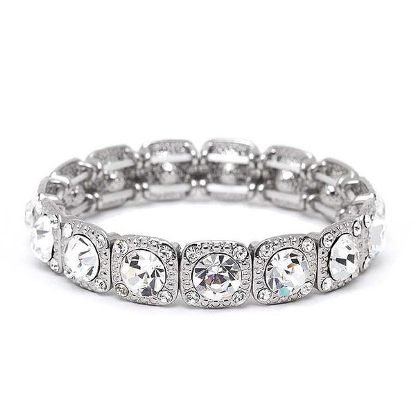 Silver Stretch Bracelet with Clear Crystals-Bracelets-Here Comes The Bling™