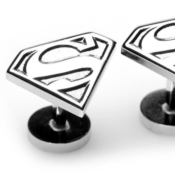Silver Superman Shield Cufflinks-Cufflinks-Here Comes The Bling™