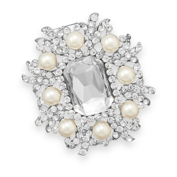 Silver Tone Crystal and Simulated Pearl Fashion Pin-Brooches-Here Comes The Bling™