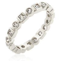 Silvertone Eternity Stackable Band-Rings-Here Comes The Bling™