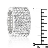 Silvertone Finishd Wide Pave Cubic Zirconia Ring-Rings-Here Comes The Bling™