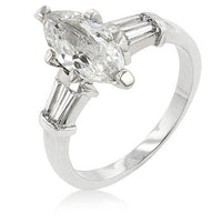 Silvertone Marquise Centerpiece Ring-Rings-Here Comes The Bling™