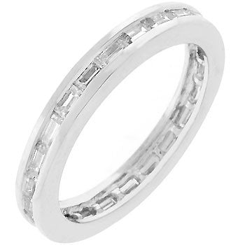 Silvertone White Eternity Ring-Rings-Here Comes The Bling™