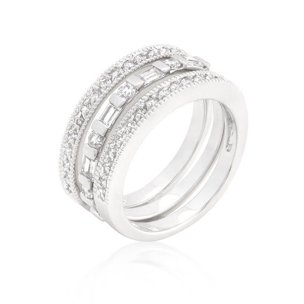 Simple Cubic Zirconia Ring Set-Rings-Here Comes The Bling™