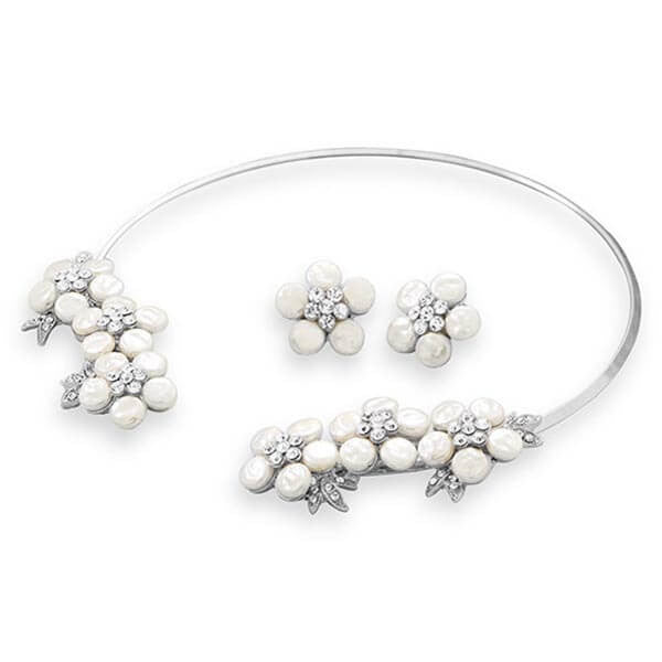 Simulated Pearl and Crystal Floral Fashion Collar and Earring Set-Sets-Here Comes The Bling™