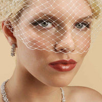 Single Comb French Net Bridal Birdcage Visor Veil-Birdcage-Here Comes The Bling™