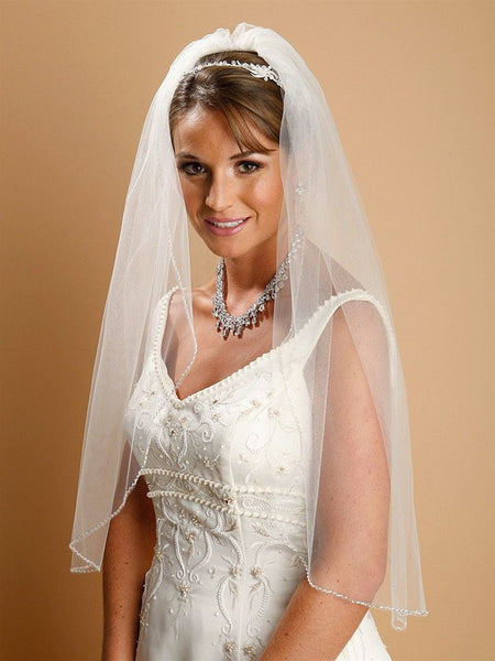 Single Layer Bridal Veil with Zig Zag Bugle Bead Edging (Available in 2 lengths and Multiple Color Options)-Veils-Here Comes The Bling™