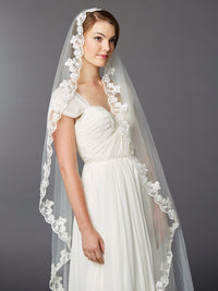 Single Layer Cathedral Mantilla Bridal Veil with Scalloped Lace Edge-Veils-Here Comes The Bling™