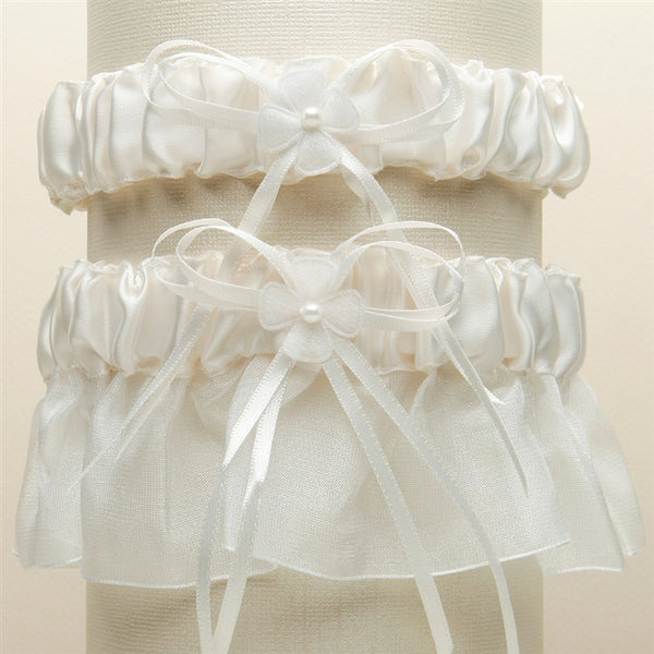 Sleek Satin Organza 2 Pc. Bridal Garter Set (Available in 4 Colors)-Garters-Here Comes The Bling™