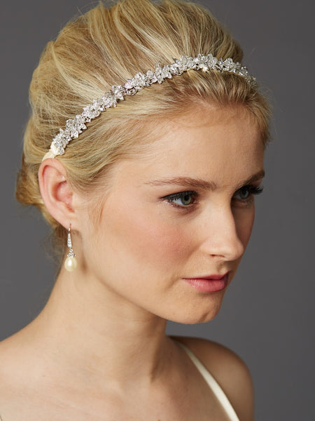 Slender Headband with Hand-wired Crystal Clusters and Ivory Ribbons-Headband-Here Comes The Bling™