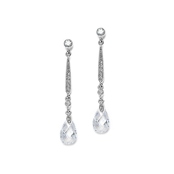 Slender Vintage Wedding or Bridesmaids CZ & Crystal Earrings-Earrings-Here Comes The Bling™