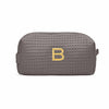 Small Cotton Waffle Cosmetic Bag in Gray-Pouch-Here Comes The Bling™