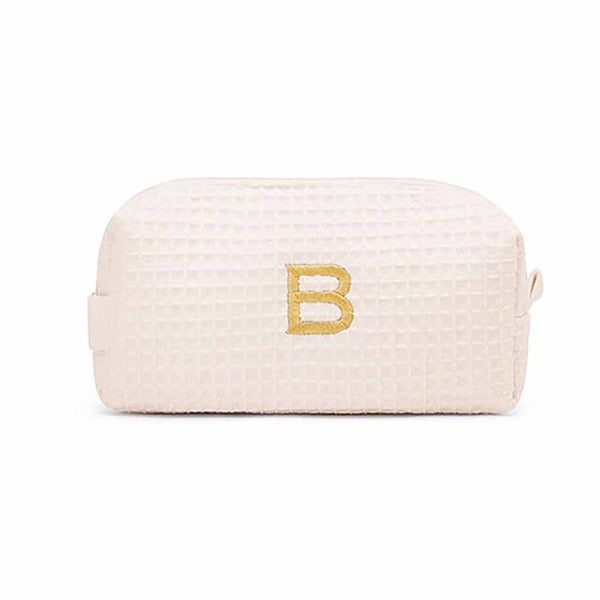 Small Cotton Waffle Cosmetic Bag in Ivory-Pouch-Here Comes The Bling™