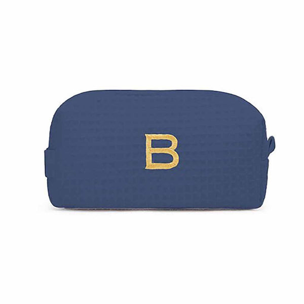 Small Cotton Waffle Cosmetic Bag in Navy Blue-Pouch-Here Comes The Bling™