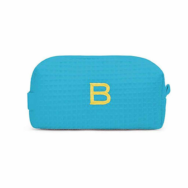Small Cotton Waffle Cosmetic Bag in Turquoise-Pouch-Here Comes The Bling™