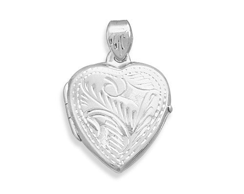 Small Etched Heart Locket-Pendants & Charms-Here Comes The Bling™