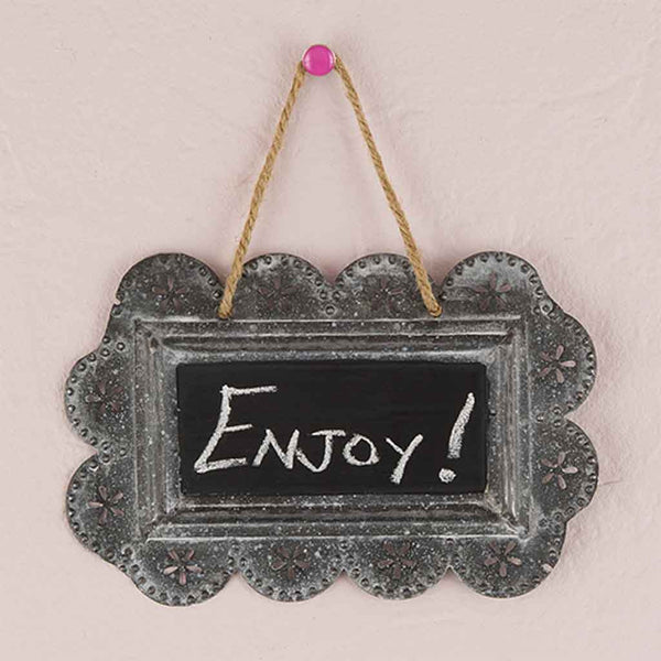 Small Scalloped Frame Tin Signs with Chalkboard-Decor-Sign-Here Comes The Bling™