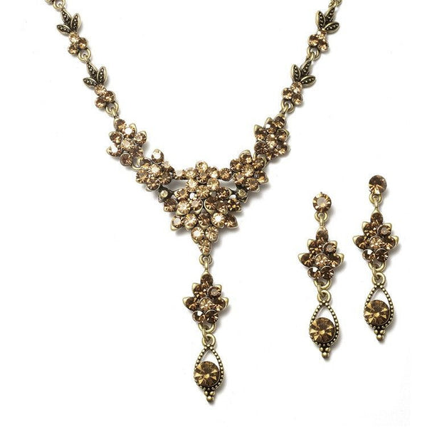 Smoked Topaz Crystal Cluster Necklace Set-Sets-Here Comes The Bling™