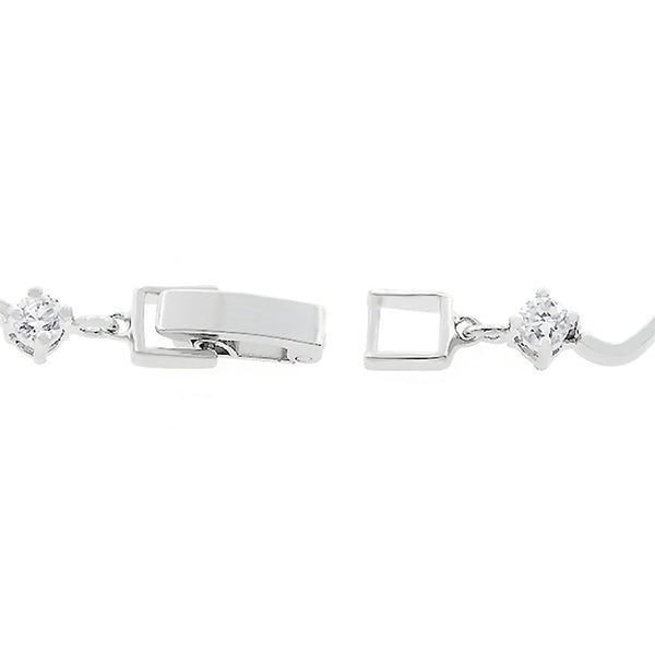 Smooth Silver Wave CZ Tennis Bracelet-Bracelets-Here Comes The Bling