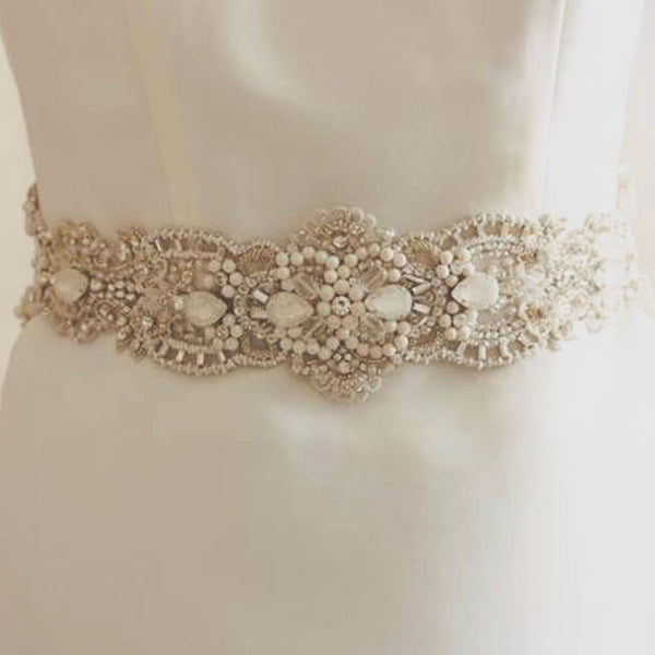 Snow Bridal Sash by MillieIcaro-Sash-Here Comes The Bling™