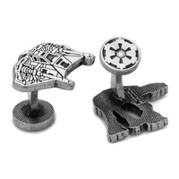 Snowspeeder and AT-AT Walker Battle of Hoth Cufflinks-Cufflinks-Here Comes The Bling™
