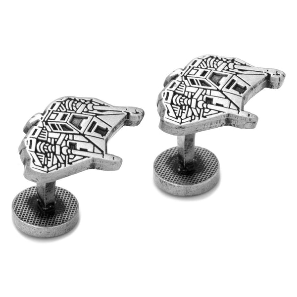 Snowspeeder Silver Etched Cufflinks-Cufflinks-Here Comes The Bling™