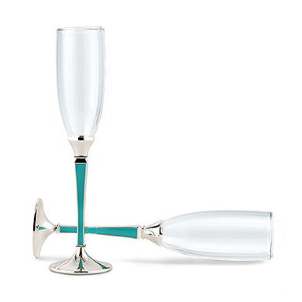 """Something Blue"" -Blue Plated Stem With Glass Wedding Champagne Flutes-Toasting Flutes-Here Comes The Bling™"