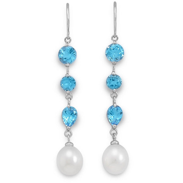 """something's Blue"" Rice Pearl and Blue Topaz Earrings-Earrings-Here Comes The Bling™"
