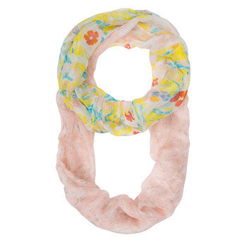 Sora Peach Floral Meadow Print Infinity Scarf-Scarf-Here Comes The Bling