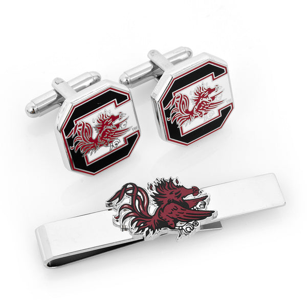 South Carolina Gamecocks Cufflinks and Tie Bar Gift Set-Mens 3 Piece Gift Set-Here Comes The Bling™