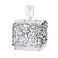 """Sparkle and Shine"" Silver Glitter Favor Box (Set of 24)-Favors-Boxes-Here Comes The Bling™"