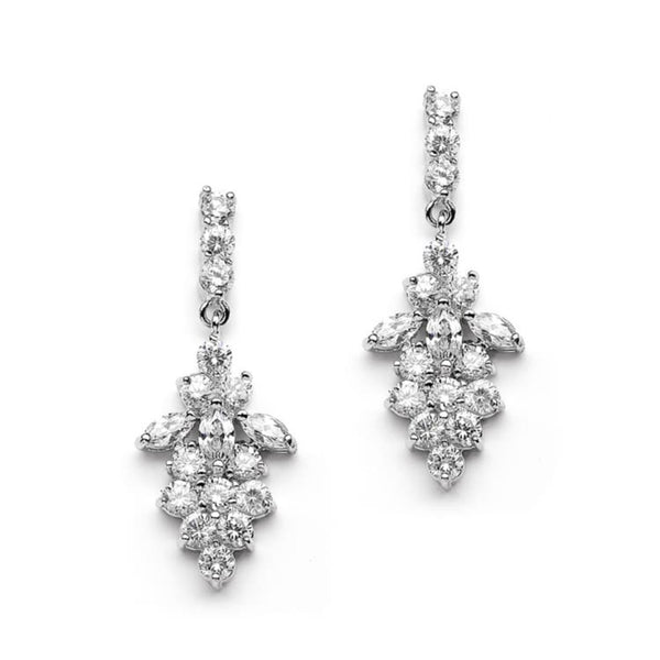 Sparkling Cubic Zirconia Drop Wedding Earrings-Earrings-Here Comes The Bling™