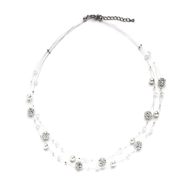 Special Floating Pearl Crystal and Rhinestone Fireball Necklace-Necklaces-Here Comes The Bling™