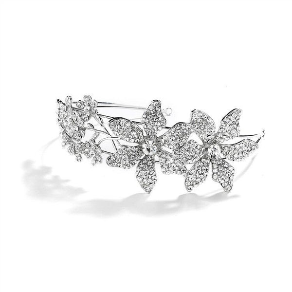 Spectacular Bridal Headband with Crystal Flowers and Split Band-Headband-Here Comes The Bling™