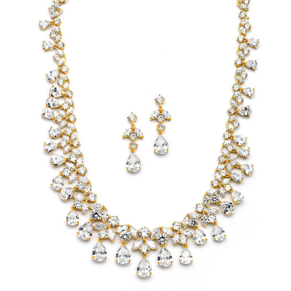 Spectacular Cubic Zirconia Gold Statement Necklace Set-Sets-Here Comes The Bling™