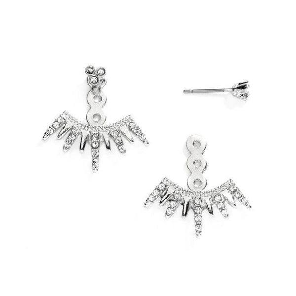 Spikey Silver Earring Jackets for Brides, Bridesmaids and Prom-Earrings-Here Comes The Bling™