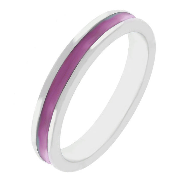 Stackable Enamel Eternity Ring in Fuchsia-Rings-Here Comes The Bling™
